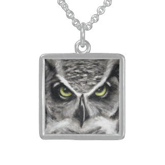 Great Horned Owl Tiger Owls Charcoal Drawing Square Pendant Necklace