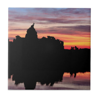Great Horned Owl Watching the Sunrise Small Square Tile