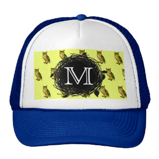 Great Horned Owl Yellow Pattern Monogrammed Mesh Hat