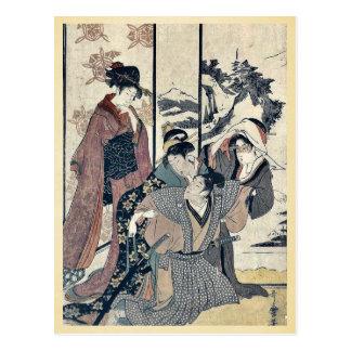 Great house cleaning by Kitagawa,Utamaro Postcards