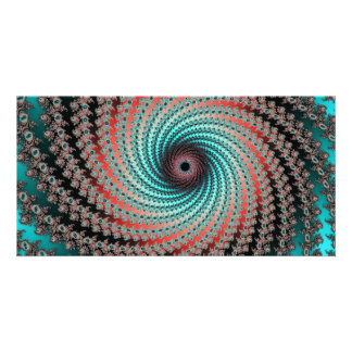 Great Hypnotic Swirl - black, bordeaux, turquoise Photo Card Template