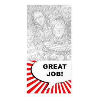 great job! comic bubble customised photo card
