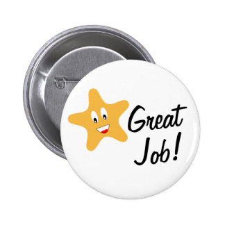Great Job Gold Star 6 Cm Round Badge
