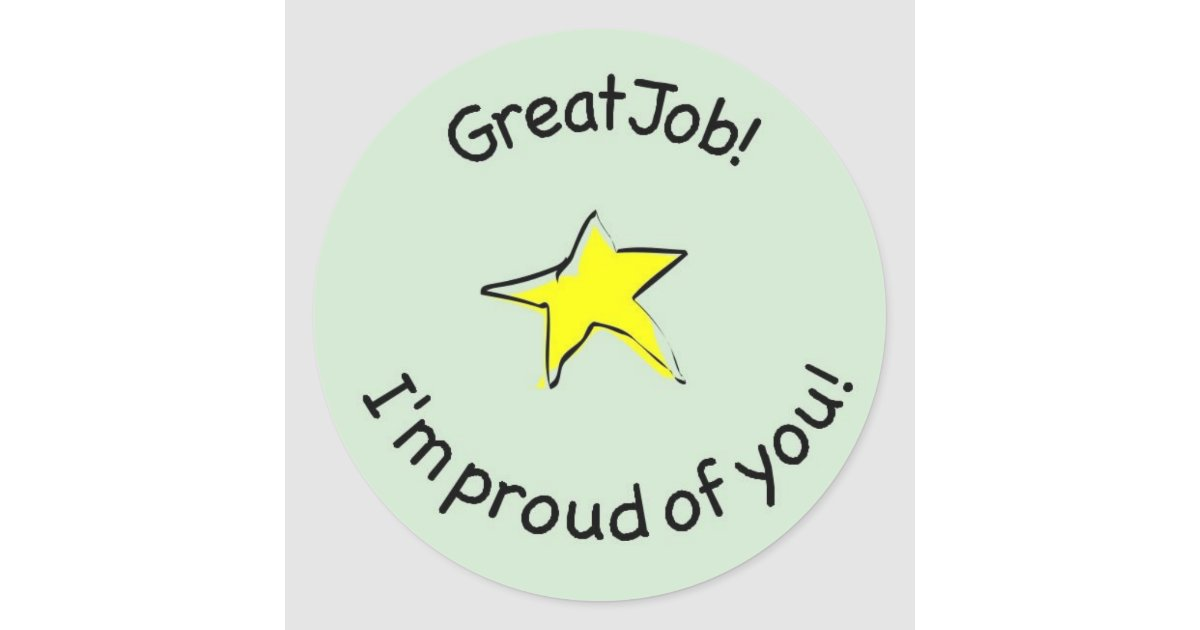 great job sticker for kids zazzlecouk