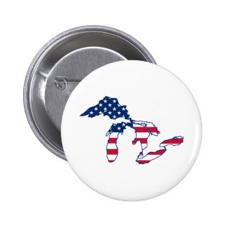 Great Lakes American Flag 6 Cm Round Badge