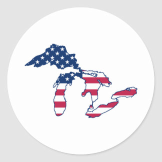 Great Lakes American Flag Round Sticker