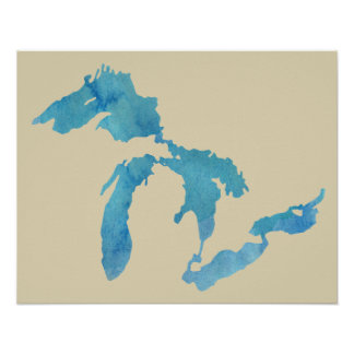 Great Lakes map silhouette in watercolor Poster