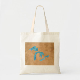 Great Lakes silhouette map outline in watercolor Tote Bag