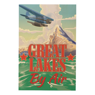 Great Lakes vintage travel poster. Wood Wall Art