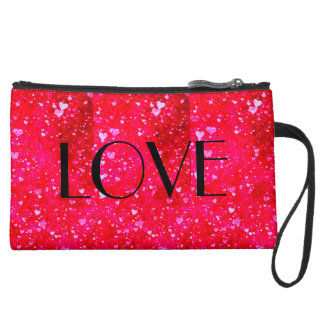 GREAT LOVE Red hearts collage pattern Wristlet Clutch