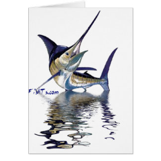 Great marlin with reflection in water cards