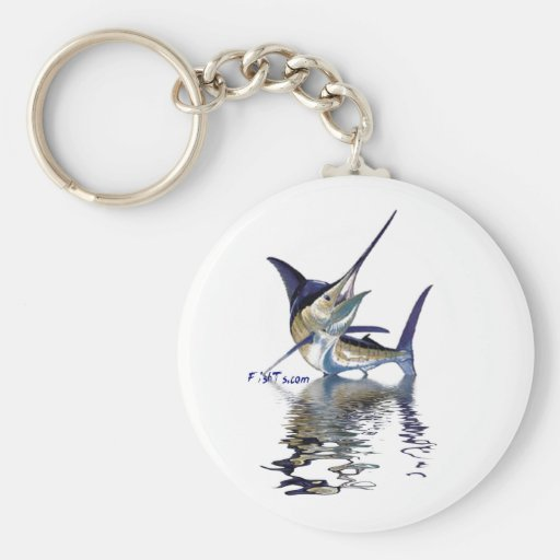 Great marlin with reflection in water basic round button key ring