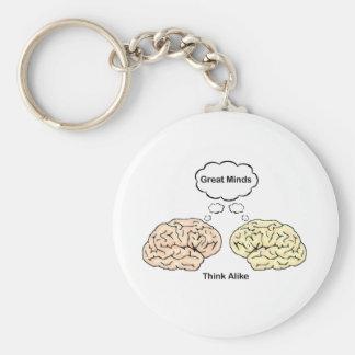 Great Minds Think Alike! Basic Round Button Key Ring