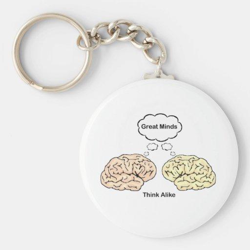 Great Minds Think Alike Basic Round Button Key Ring