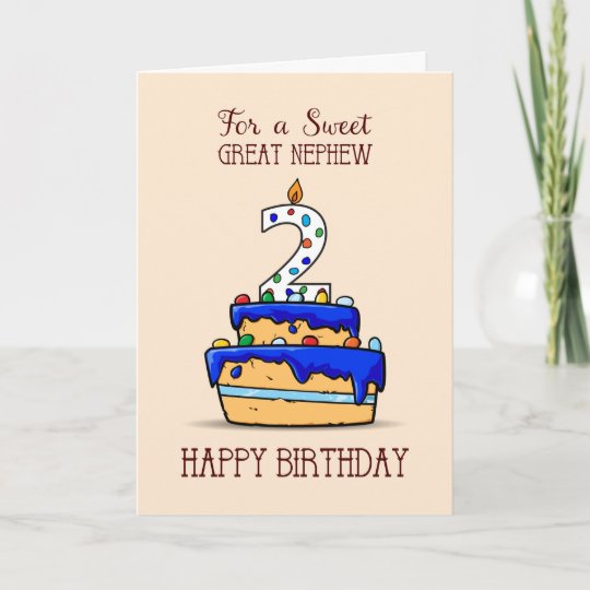 Brilliant Great Nephew 2Nd Birthday 2 On Sweet Blue Cake Card Zazzle Co Uk Funny Birthday Cards Online Benoljebrpdamsfinfo