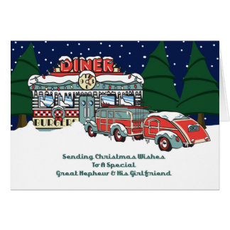 Great Nephew & Girlfriend Retro Diner Christmas Card