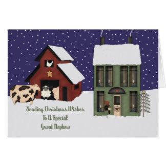 Great Nephew Prim Farm Christmas Card