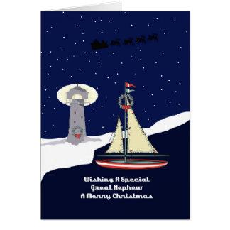 Great Nephew Sailboat Christmas Card