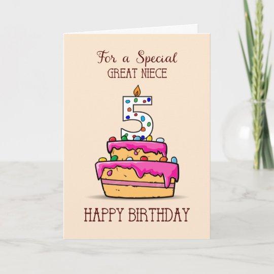 Astounding Great Niece 5Th Birthday 5 On Sweet Pink Cake Card Zazzle Co Uk Funny Birthday Cards Online Aboleapandamsfinfo