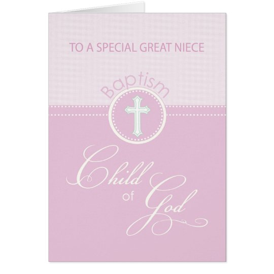 Great Niece Baptism Congratulations Pink Child Card