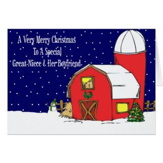 Great Niece & Boyfriend Barn Christmas Card