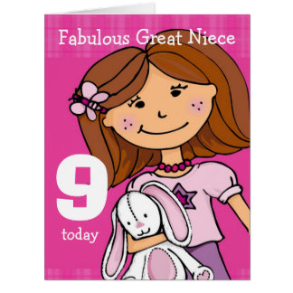 Great Niece Girl's 9th birthday card pink