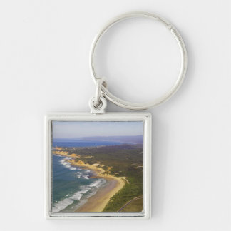 Great Ocean Road and Split Point Lighthouse, Silver-Colored Square Key Ring