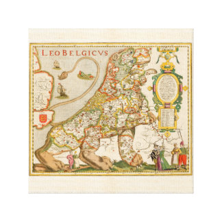 Great Old Map of Belgium (Year 1617) Canvas Print