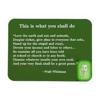 Great Poem by Walt Whitman #4 Magnet