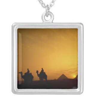 Great Pyramids of Giza, Egypt at sunset Silver Plated Necklace