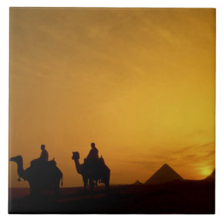 Great Pyramids of Giza, Egypt at sunset Tile