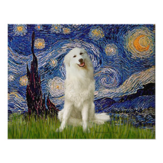 Great Pyrenees 3 - Starry Night Poster