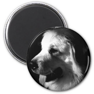 Great Pyrenees Black and White Photo products 6 Cm Round Magnet