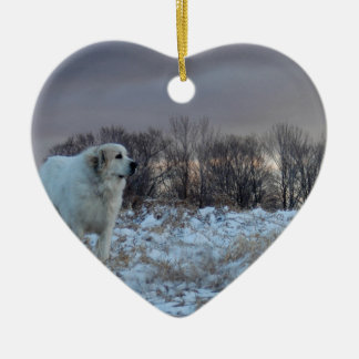 Great Pyrenees Ceramic Heart Decoration