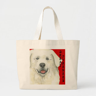 Great Pyrenees Color Block Large Tote Bag