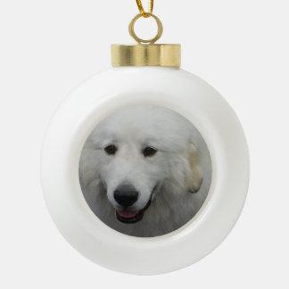 Great Pyrenees Dog Ceramic Ball Christmas Ornament