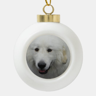 Great Pyrenees Dog Ceramic Ball Decoration
