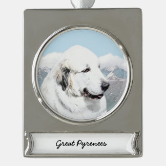 Great Pyrenees Painting - Original Dog Art Silver Plated Banner Ornament