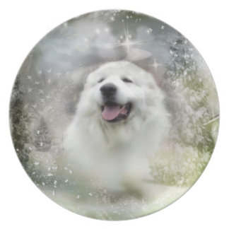 """Great Pyrenees Plate - """"Beautiful Benny"""" Winter"""