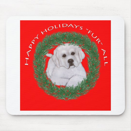 Great Pyrenees Puppy Christmas Design Mouse Pad