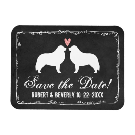 Great Pyrenees Silhouettes Wedding Save the Date Rectangular Photo Magnet