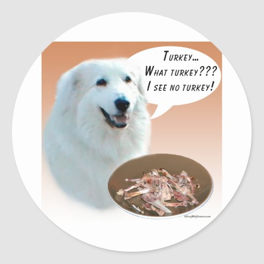 Great Pyrenees Turkey Classic Round Sticker