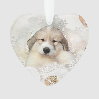Great Pyrenees Watercolor Puppy Holiday