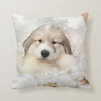 Great Pyrenees Watercolor Puppy Holiday Cushion
