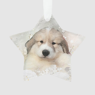 Great Pyrenees Watercolor Puppy Holiday Ornament
