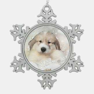 Great Pyrenees Watercolor Puppy Holiday Snowflake Pewter Christmas Ornament