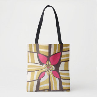Great red floral ivory design tote bag