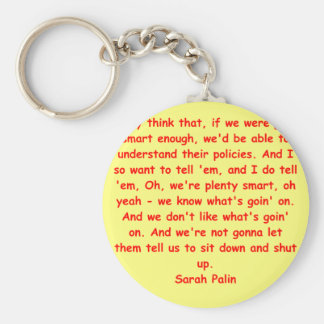 great Sarah Palin quote Basic Round Button Key Ring