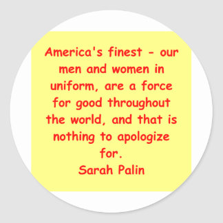 great Sarah Palin quote Classic Round Sticker