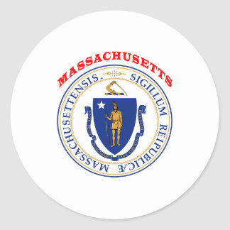 Great Seal Of  State Massachusetts Round Sticker